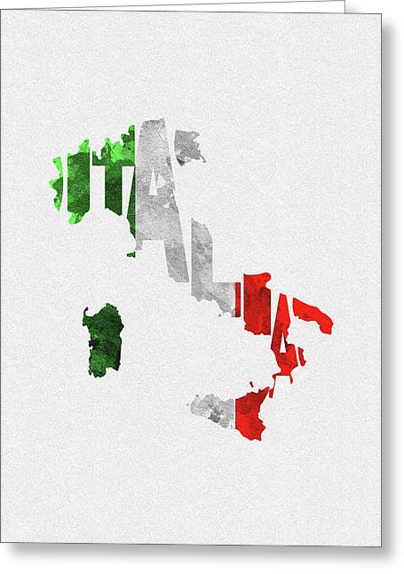 Italy Typographic Map Flag Greeting Card