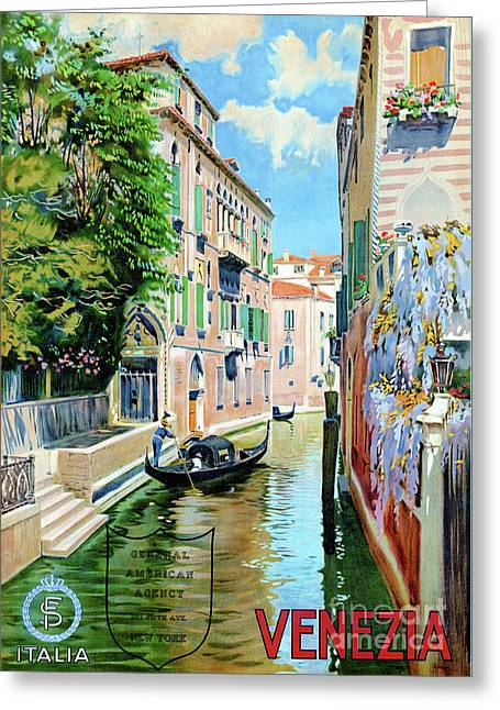 Italy Venice Vintage Travel Poster Restored Greeting Card