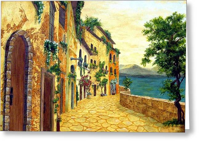 Italy's Hues Greeting Card by Leslie Rhoades
