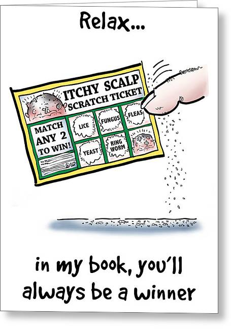 Itchy Scalp Scratch Ticket Greeting Card by Mark Armstrong