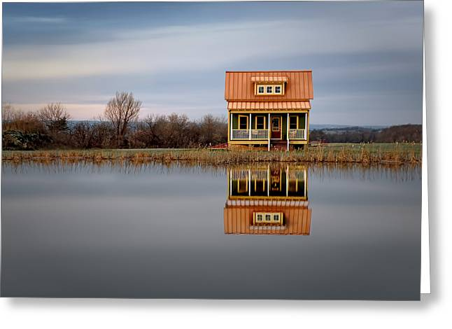 Ithaca Cottage Reflection Greeting Card by Steven  Michael