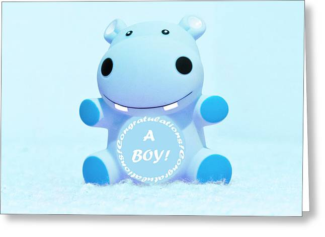 It's A Boy Hippo Greeting Card