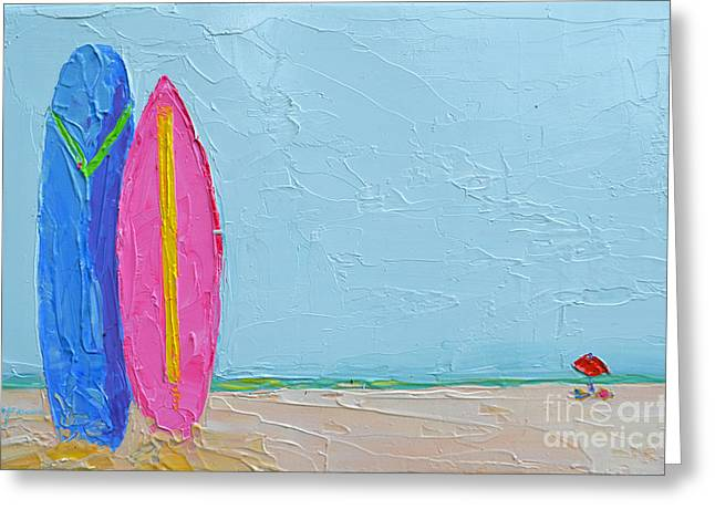 It's A Date - Surf Boards At The Beach - Modern Impressionist Knife Palette Oil Painting Greeting Card by Patricia Awapara