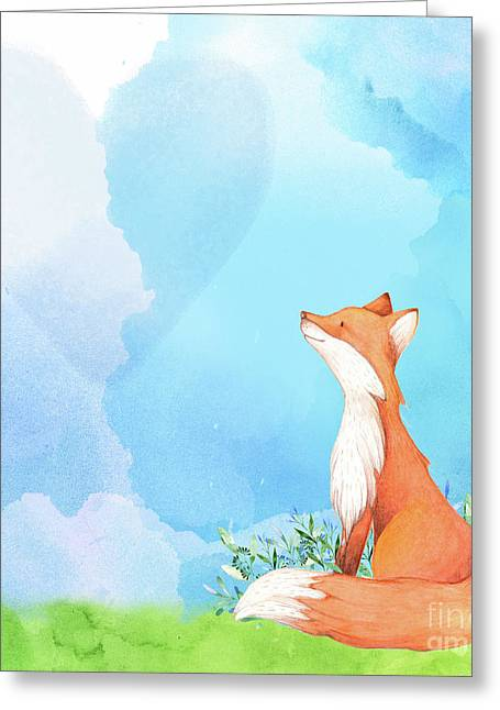 It's All Love Fox Love Greeting Card by Tina Lavoie