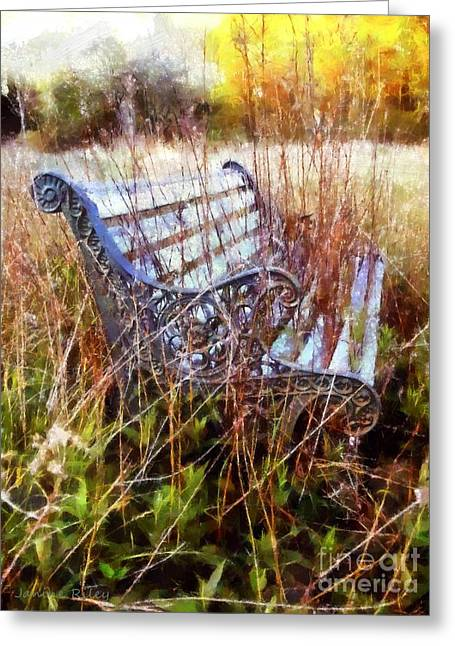 It's Been Awhile - Park Bench Greeting Card by Janine Riley