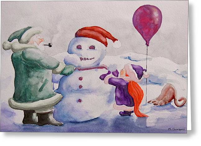Greeting Card featuring the painting It's Cold Grandpa by Geni Gorani