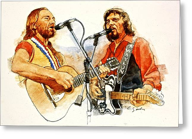 Celebrity Mixed Media Greeting Cards - Its Country - 7  Waylon Jennings Willie Nelson Greeting Card by Cliff Spohn