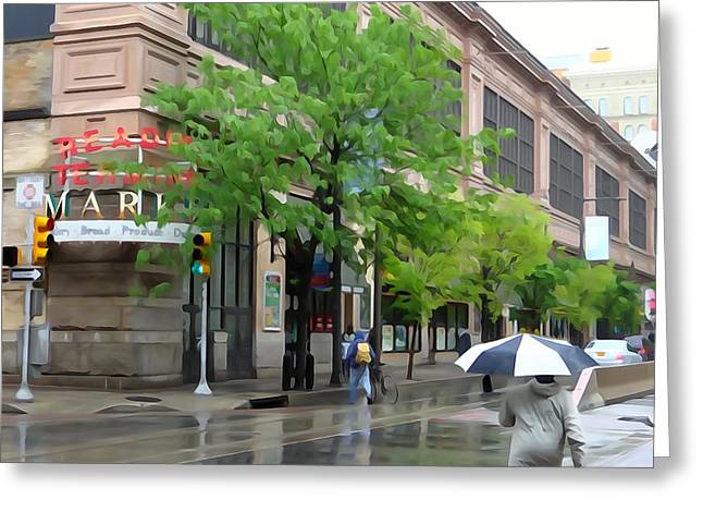 Its Raining In Philly Greeting Card by Michael Wilcox