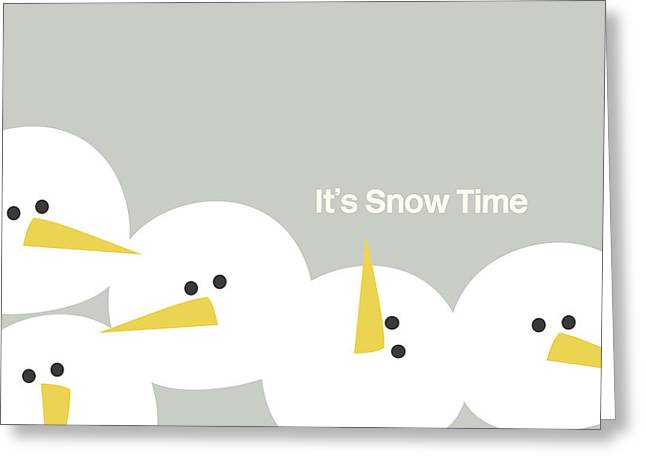 It's Snow Time Snow Heads- Art By Linda Woods Greeting Card by Linda Woods