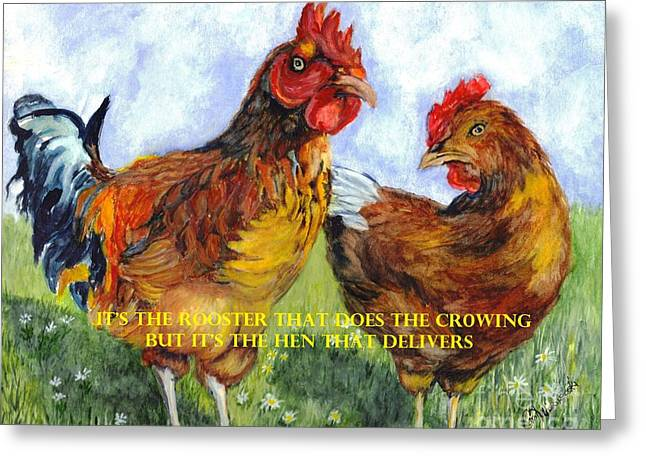 It's The Rooster Greeting Card by Carol Wisniewski