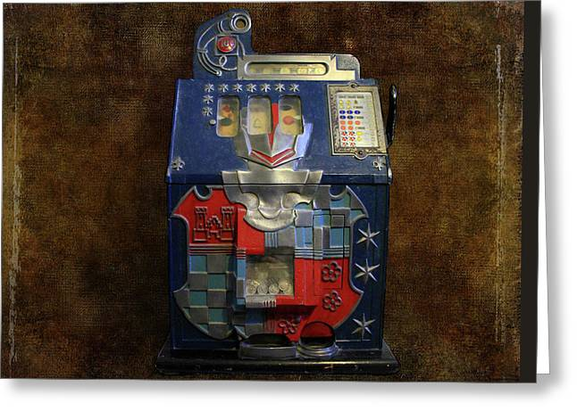 It's Your Dime-1936 Antique Slot Machine Greeting Card by Donna Kennedy
