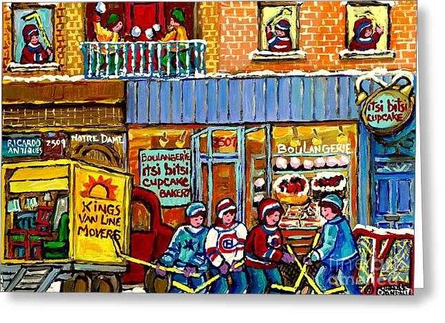 Itsy Bitsy Cupcake Bakery St Henri Winter Scene Hockey Street Notre Dame Canadian Art Carole Spandau Greeting Card by Carole Spandau