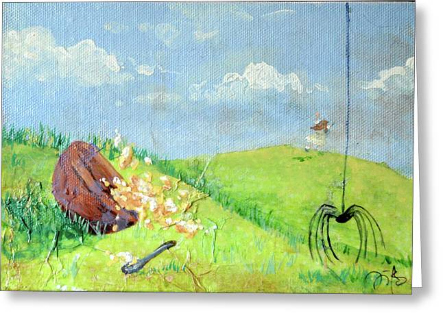 Porridge Mixed Media Greeting Cards - Itsy Bitsy Spider Greeting Card by Jennifer Kelly