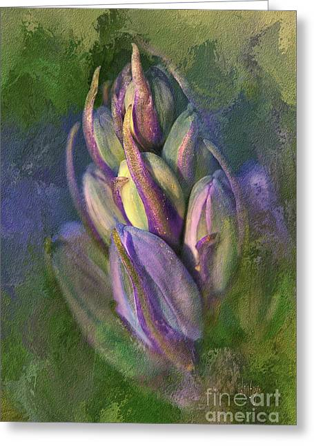 Itty Bitty Baby Bluebells Greeting Card by Lois Bryan