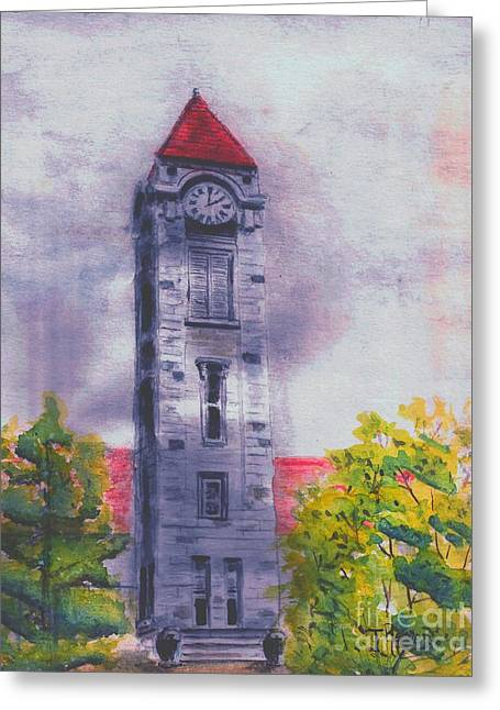 Iu Clock Tower Greeting Card by Ted Reeves