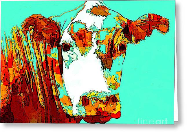 Turquoise Cow Greeting Card