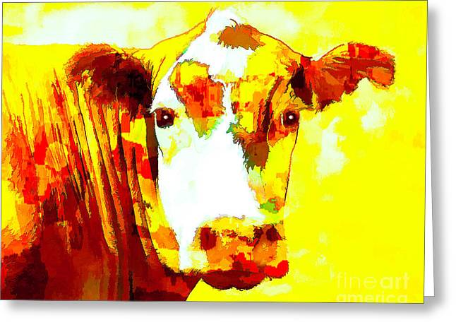 Yellow Cow Greeting Card