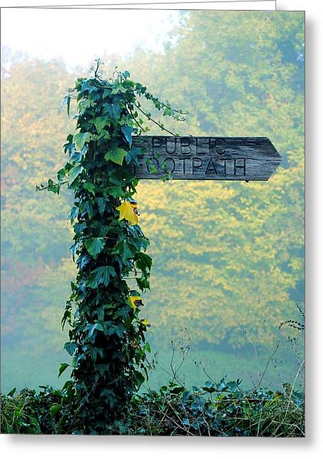 Ivy Footpath Sign Greeting Card