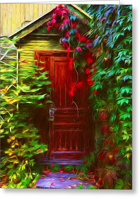 Ivy Surrounded Old Outhouse Greeting Card by Georgiana Romanovna
