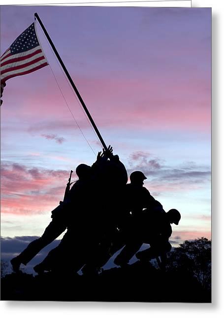 Iwo Jima Memorial In Arlington Virginia Greeting Card by Brendan Reals