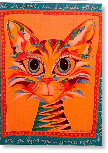 Izzy Kitty Greeting Card by Emily Reynolds Thompson