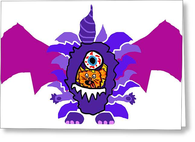 Izzy Purple People Eater Costume Greeting Card by Jera Sky