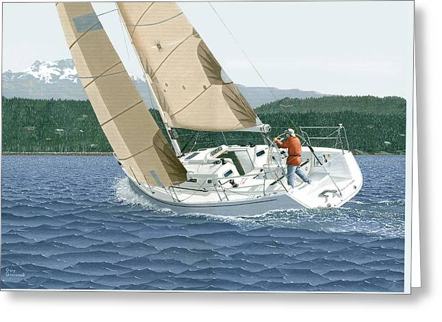 Greeting Card featuring the painting J-109 Sailboat Off Comox B.c. by Gary Giacomelli