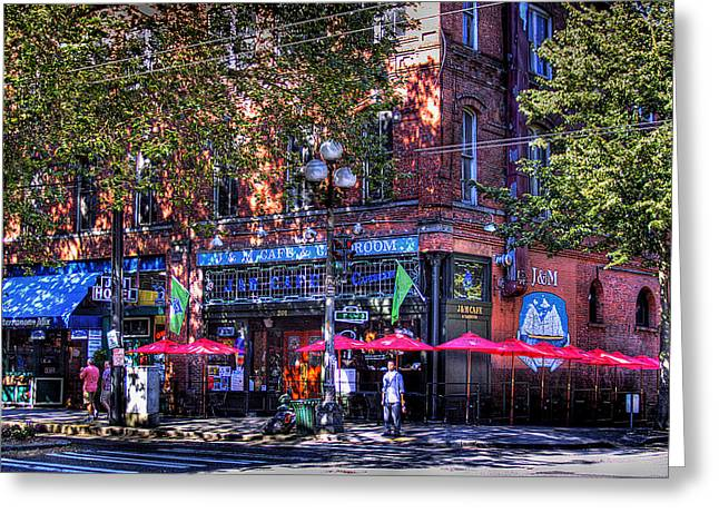 J And M Cafe Greeting Card by David Patterson