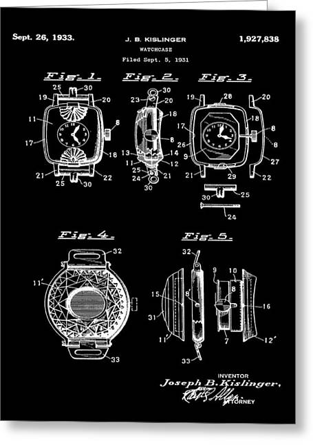J B Kislinger Watch Patent 1933 Black Greeting Card by Bill Cannon