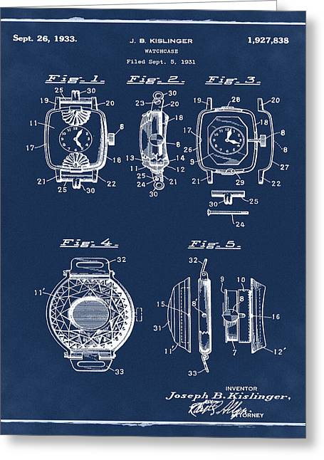 J B Kislinger Watch Patent 1933 Blue Greeting Card by Bill Cannon
