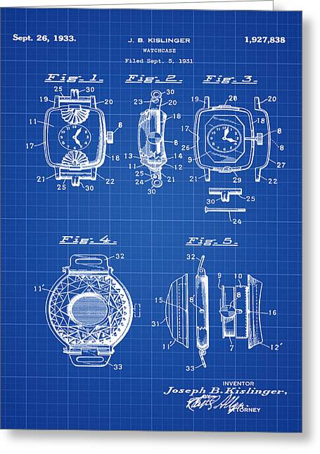 J B Kislinger Watch Patent 1933 Blue Print Greeting Card by Bill Cannon