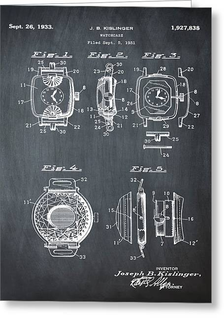 J B Kislinger Watch Patent 1933 Chalk Greeting Card by Bill Cannon