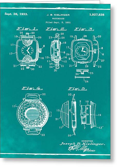 J B Kislinger Watch Patent 1933 Green Greeting Card by Bill Cannon