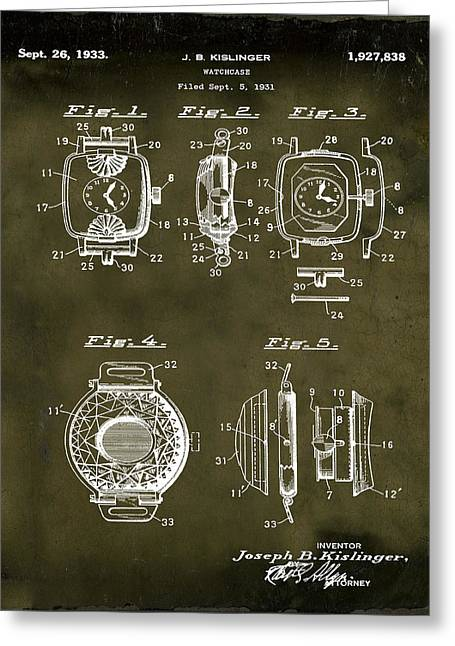 J B Kislinger Watch Patent 1933 Grunge Greeting Card by Bill Cannon