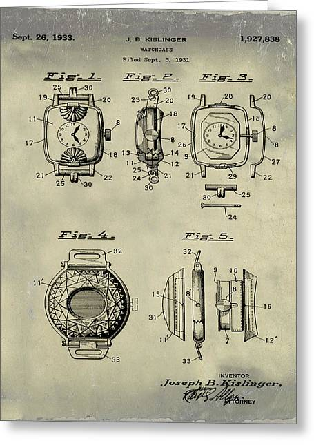 J B Kislinger Watch Patent 1933 Weathered Greeting Card