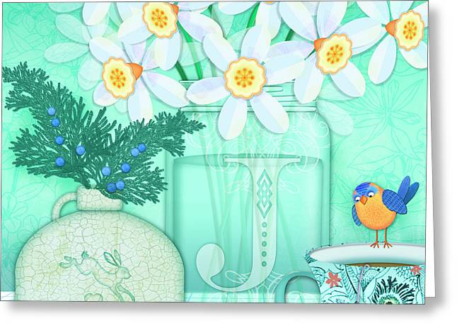J Is For Jar Of Jonquils Greeting Card