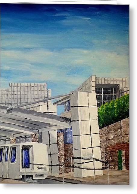 J Paul Getty Center Tram Greeting Card by Irving Starr