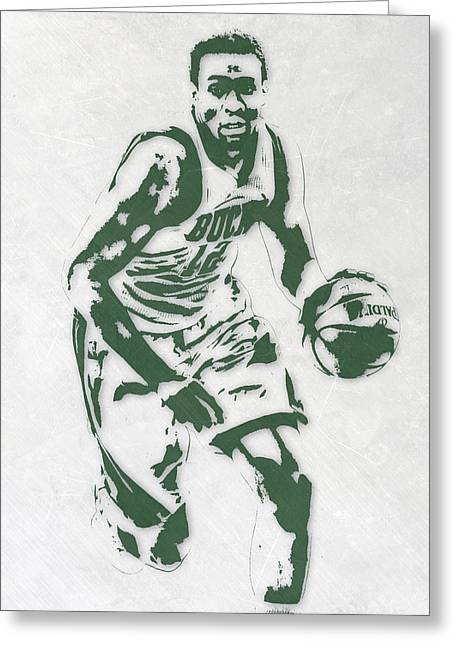 Jabari Parker Milwaukee Bucks Pixel Art 2 Greeting Card by Joe Hamilton
