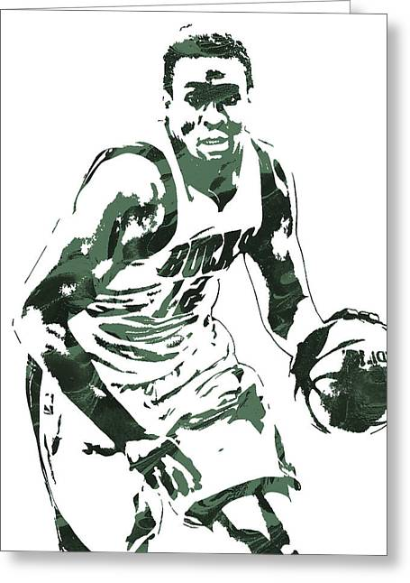 Jabari Parker Milwaukee Bucks Pixel Art 3 Greeting Card by Joe Hamilton
