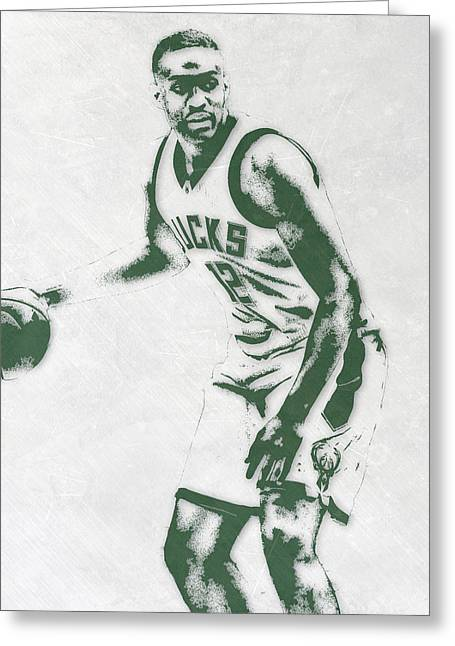 Jabari Parker Milwaukee Bucks Pixel Art Greeting Card by Joe Hamilton