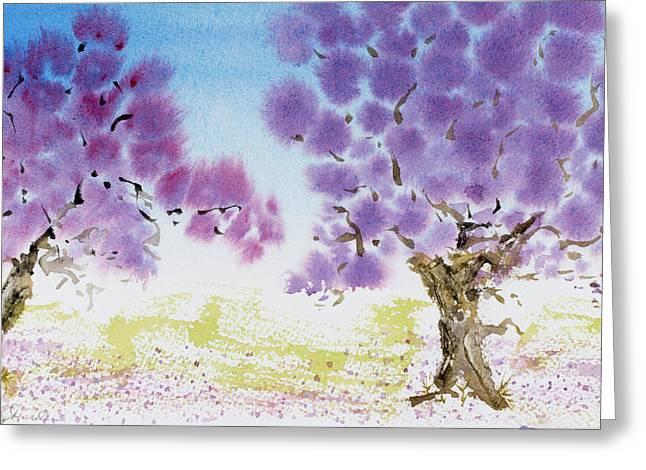 Jacaranda Trees Blooming In Buenos Aires, Argentina Greeting Card