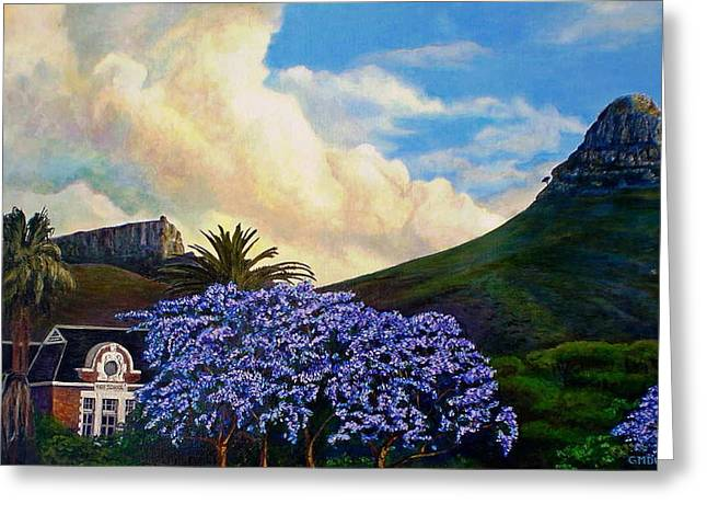 Jacaranda Under Lion Greeting Card by Michael Durst