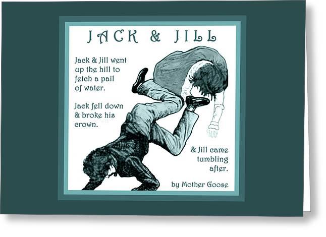 Jack And Jill Vintage Mother Goose Nursery Rhyme Greeting Card