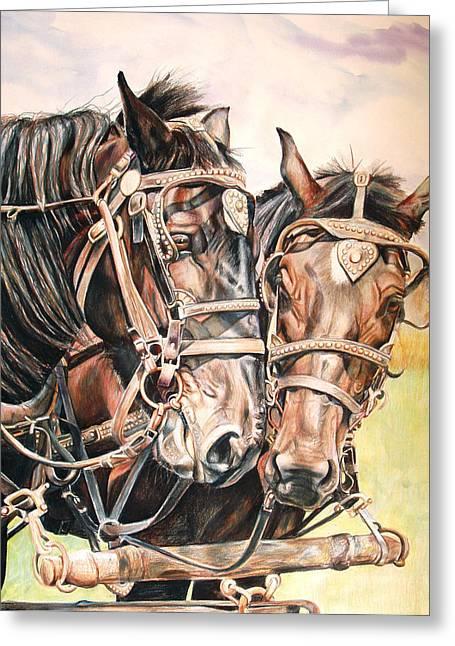 Jack And Joe Hard Workin Horses Greeting Card by Toni Grote