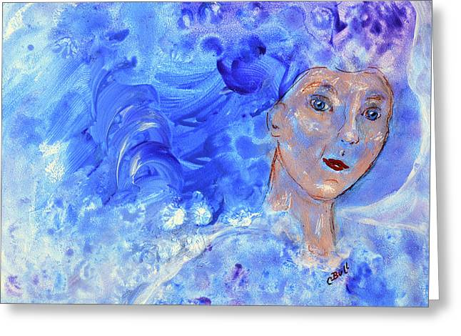 Greeting Card featuring the painting Jack Frost's Girl by Claire Bull