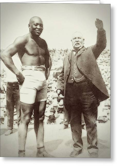 Jack Johnson - Heavyweight Boxing Champion  1908 - 1915 Greeting Card by Daniel Hagerman