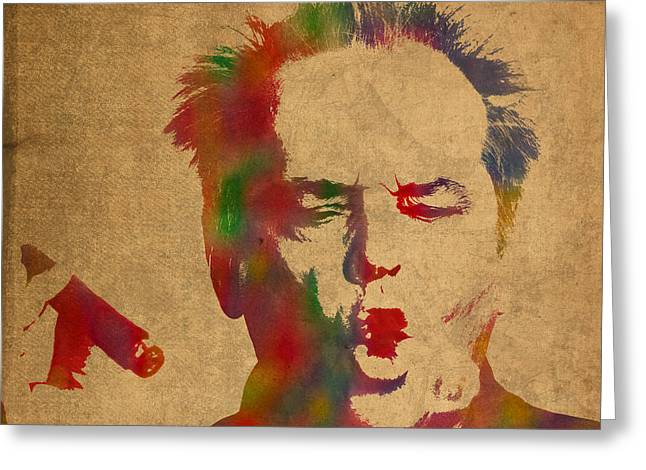 Jack Nicholson Smoking A Cigar Blowing Smoke Ring Watercolor Portrait On Old Canvas Greeting Card by Design Turnpike