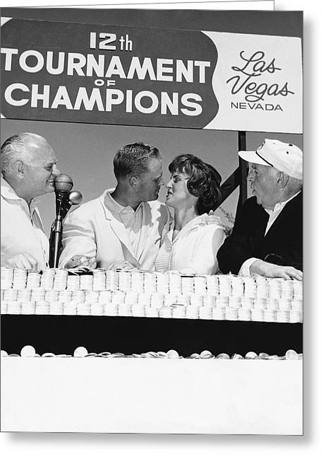 Jack Nicklaus And Wife Greeting Card by Underwood Archives