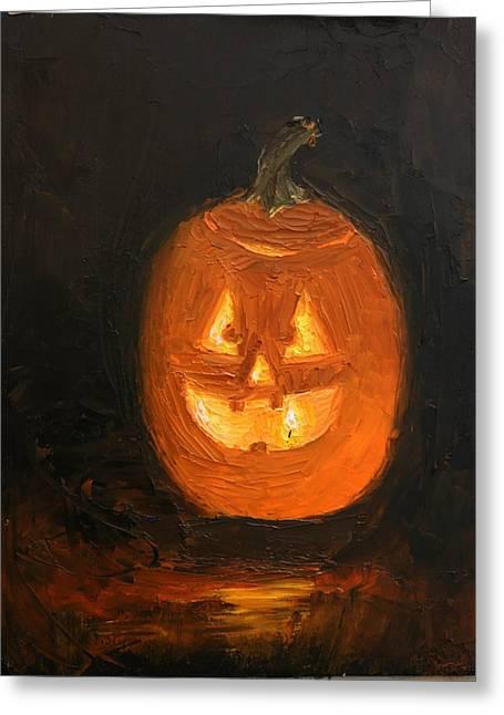 Jack O'lantern Greeting Card by Heather Olsen