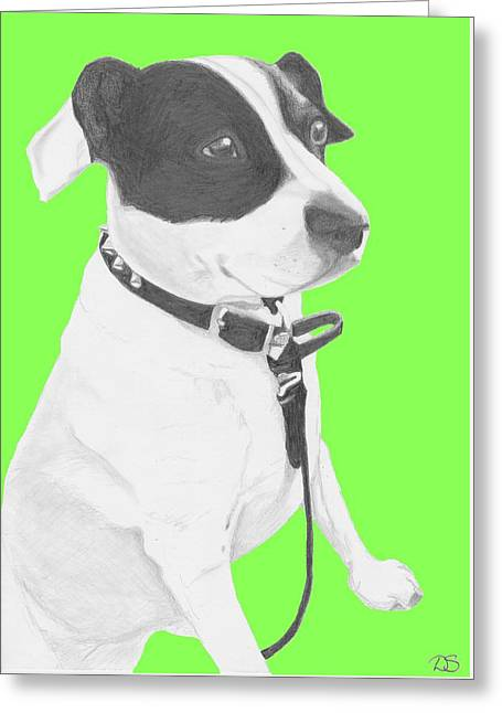 Jack Russell Cross With Green Background Greeting Card